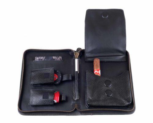 Cумка P&A на 6 сигар, натуральная кожа, черная C251-Black вид 2