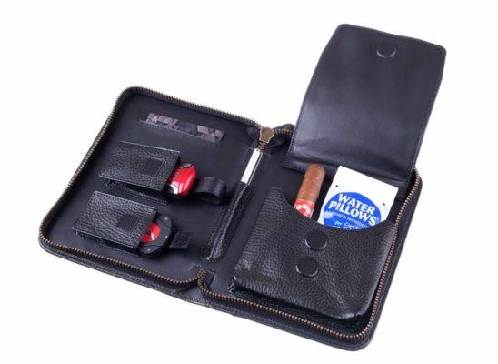 Cумка P&A на 6 сигар, натуральная кожа, черная C251-Black вид 5