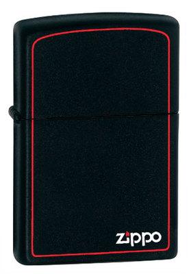 Зажигалка Zippo 218ZB  Black Matte w/Zippo,Border вид 1